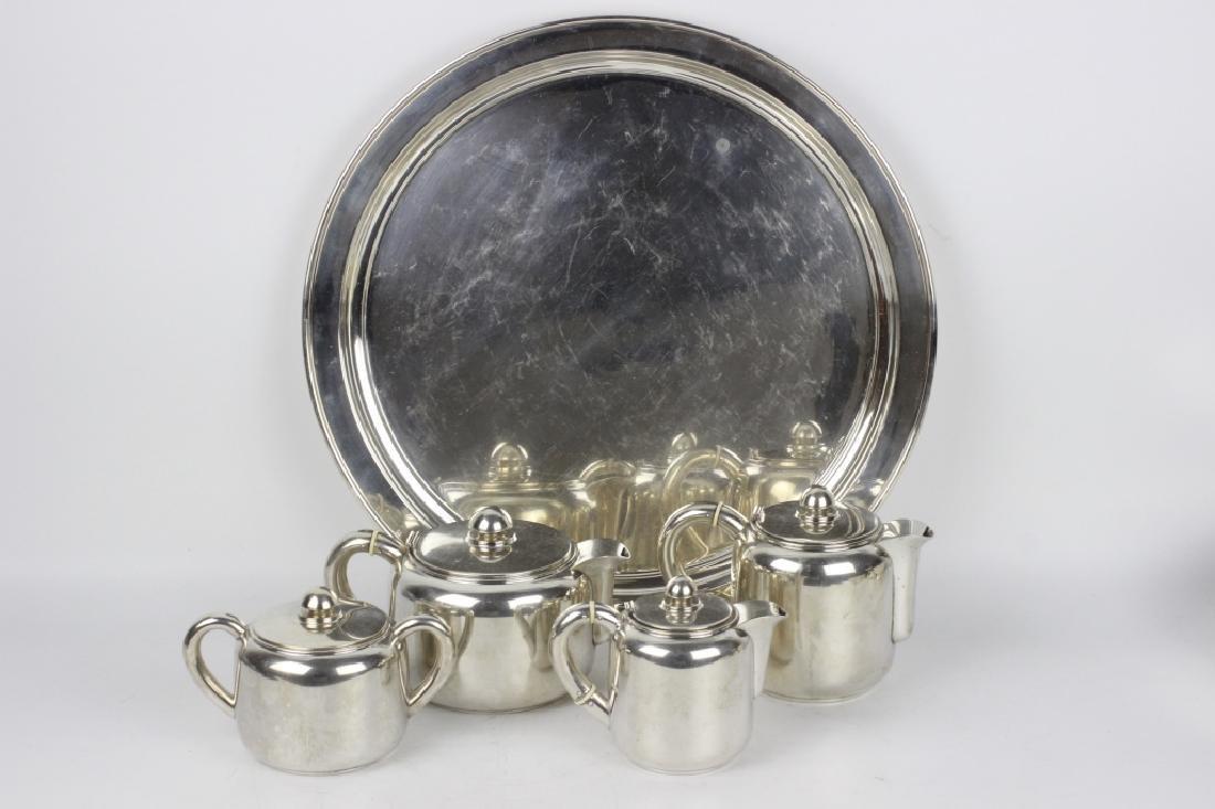 5pc Art Deco Portuguese Silver Coffee & Tea Set - 10
