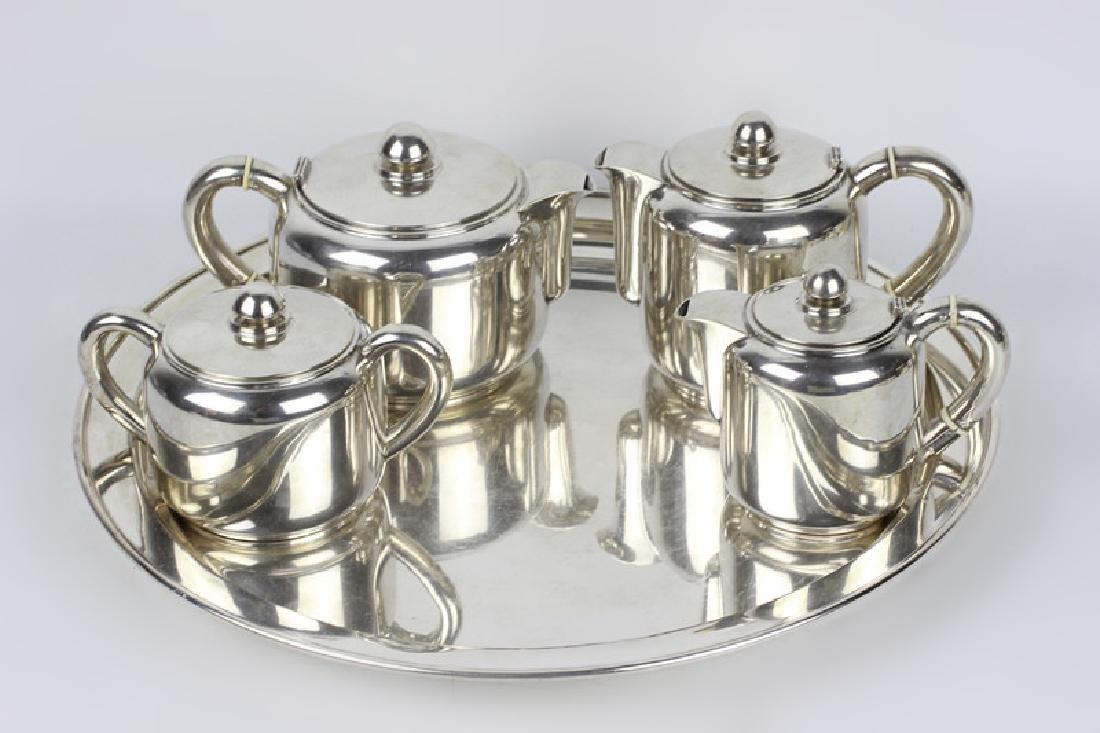 5pc Art Deco Portuguese Silver Coffee & Tea Set