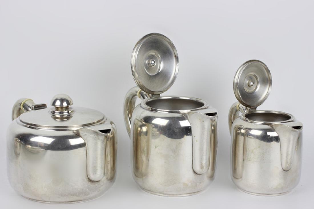 5pc Art Deco Portuguese Silver Coffee & Tea Set - 2