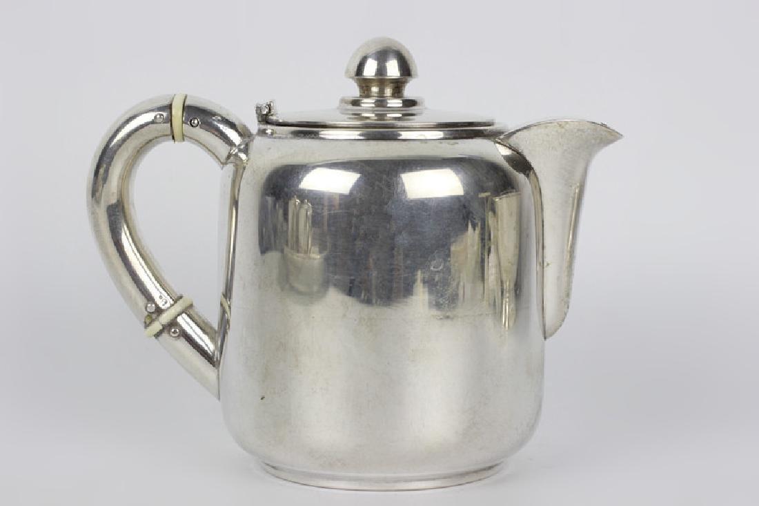 5pc Art Deco Portuguese Silver Coffee & Tea Set - 4