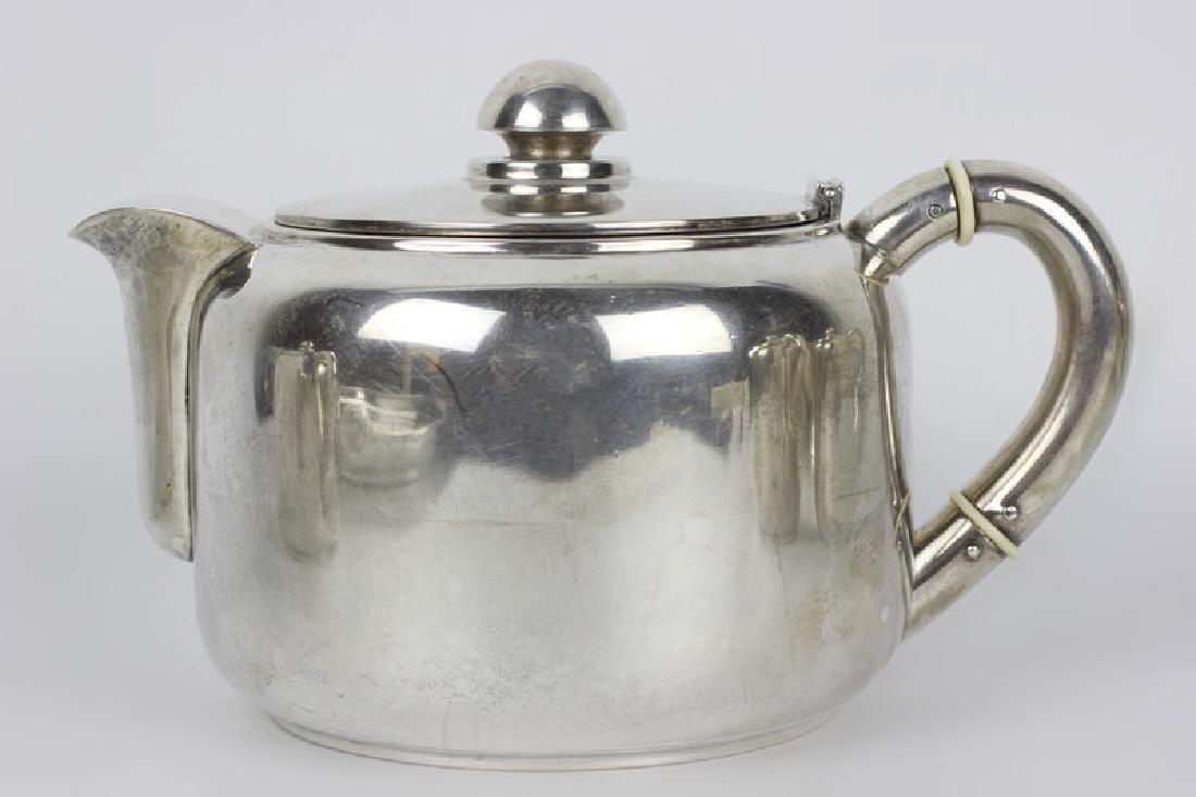 5pc Art Deco Portuguese Silver Coffee & Tea Set - 6