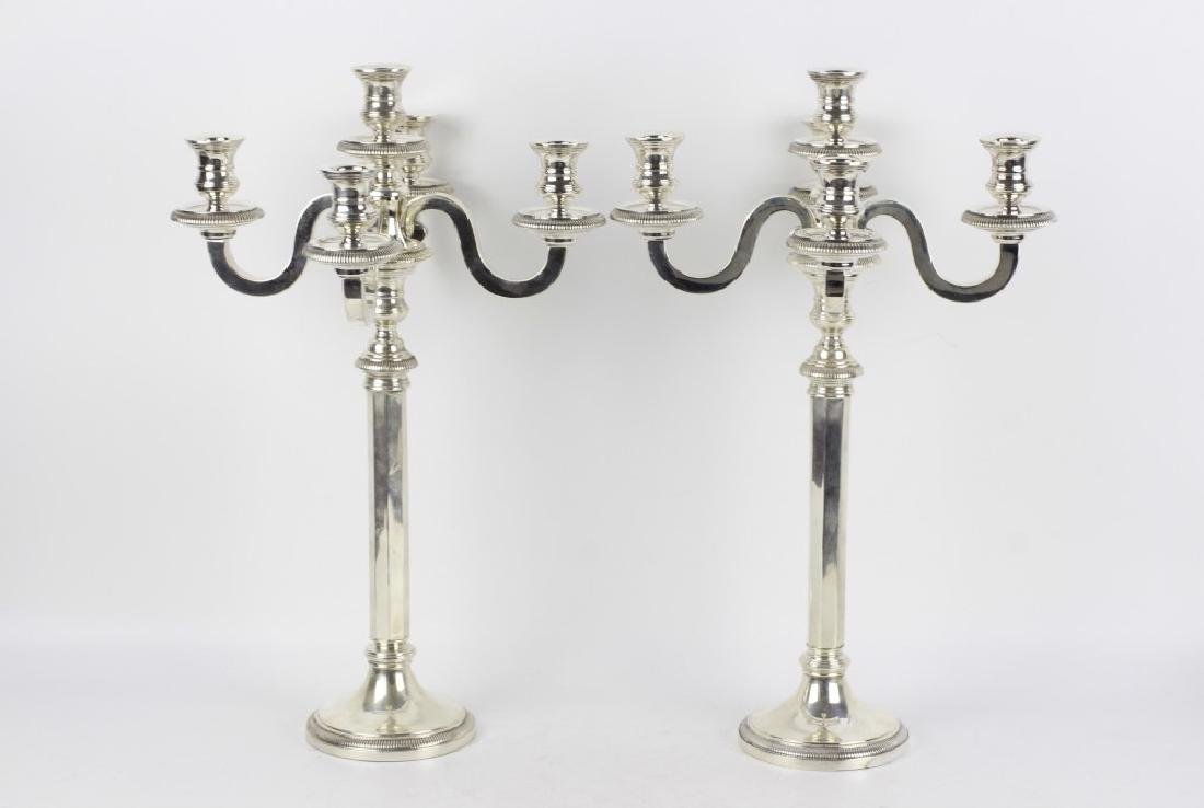 French Silver Art Deco 5 Light Candelabra, Signed