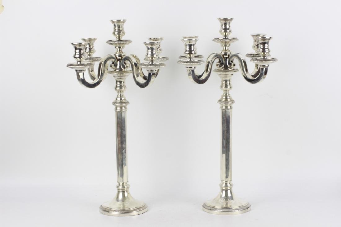 French Silver Art Deco 5 Light Candelabra, Signed - 7