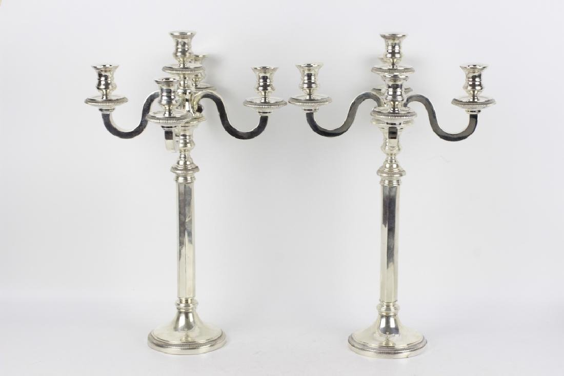 French Silver Art Deco 5 Light Candelabra, Signed - 8