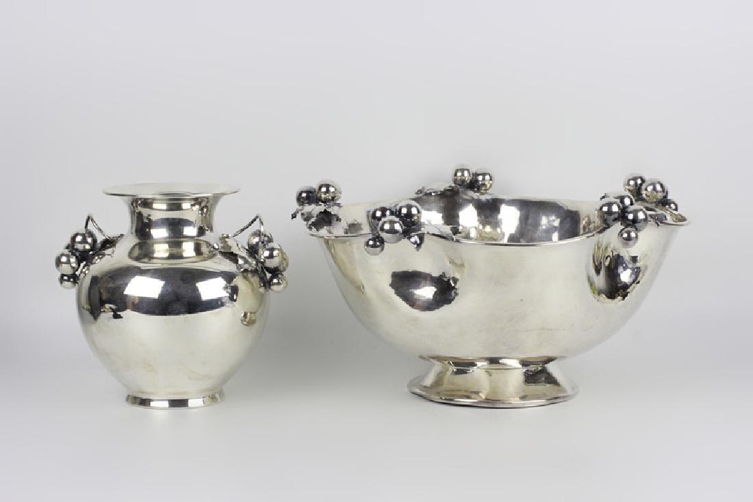Peruvian Silver Art Deco Bowl & Vase