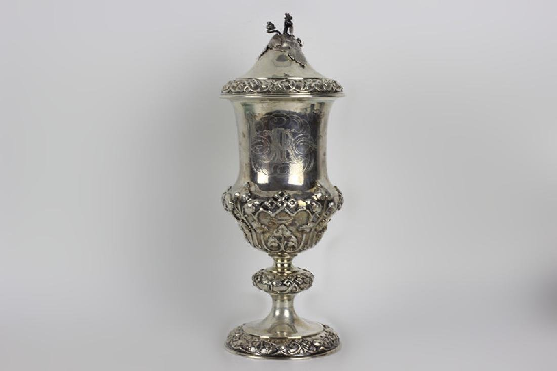19thc Russian Silver Goblet & Cover, Gilded Inside