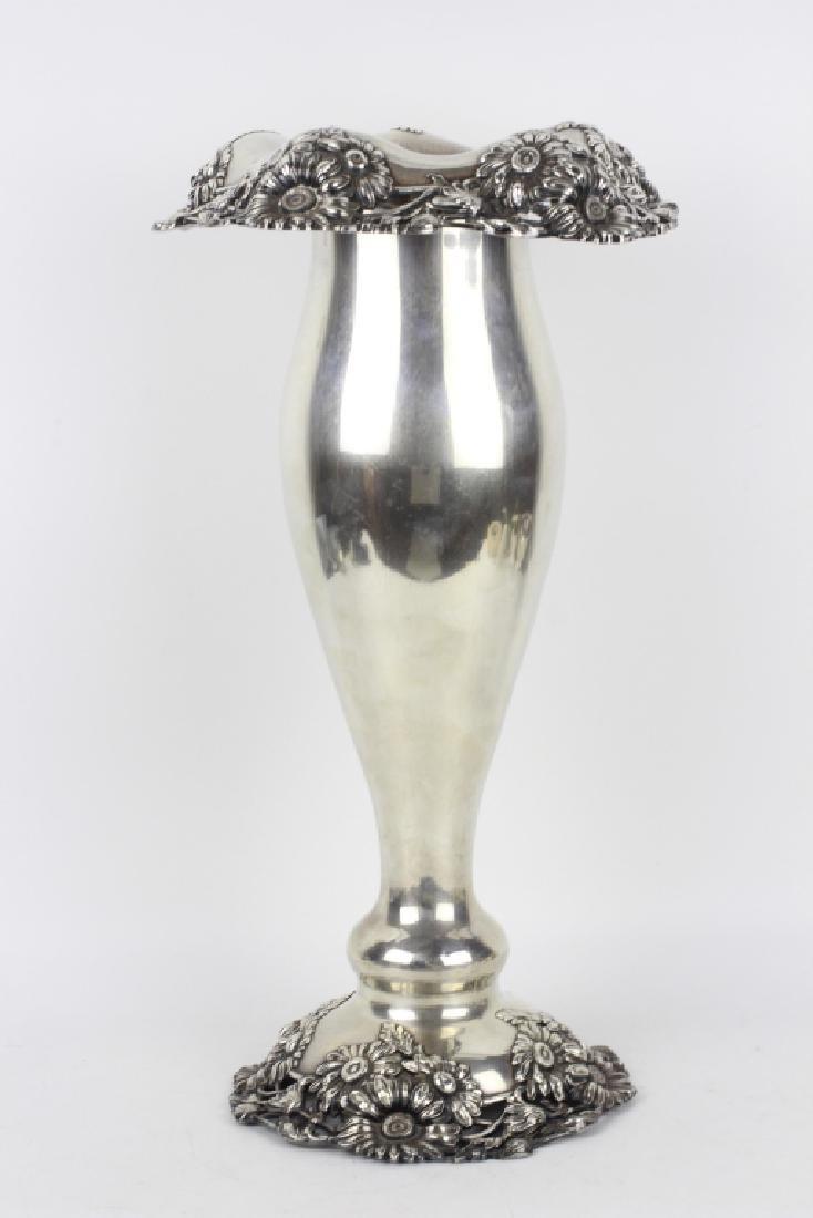 Large Art Nouveau Sterling Silver Vase - 10