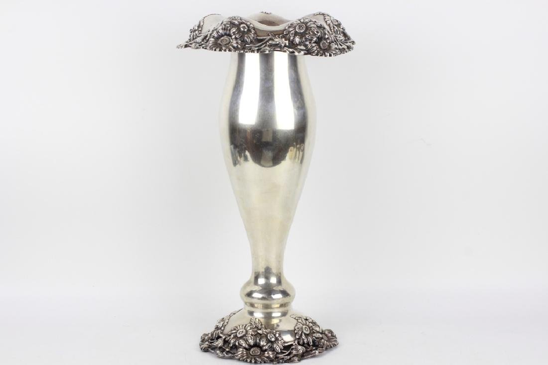Large Art Nouveau Sterling Silver Vase - 2