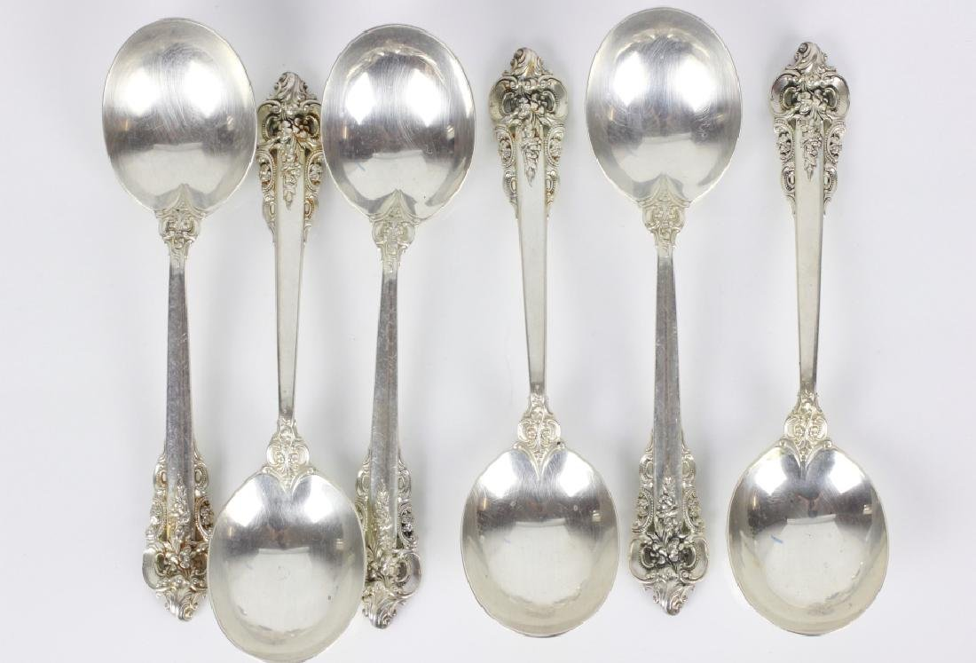 6 Grand Baroque Sterling Silver Gumbo Spoons