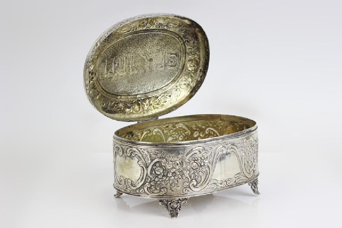 Early 800 German Silver Judaica Etrog Box - 2