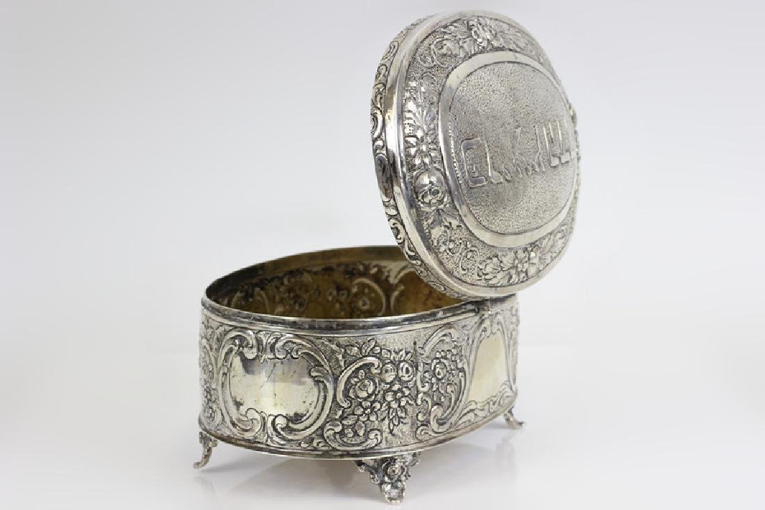 Early 800 German Silver Judaica Etrog Box - 4