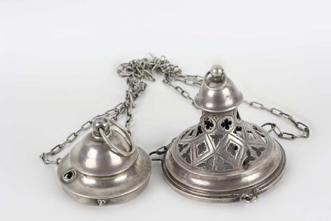 Unusual Continental Silver Hanging Light