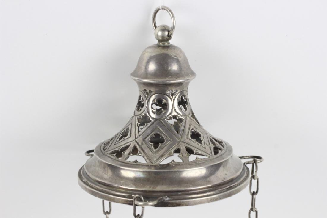 Unusual Continental Silver Hanging Light - 5