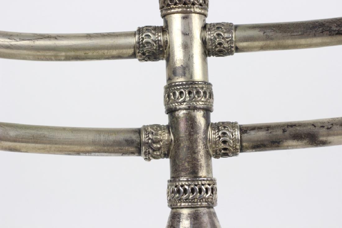 Judaica Sterling Silver Menorah, Signed S. Nadav - 10
