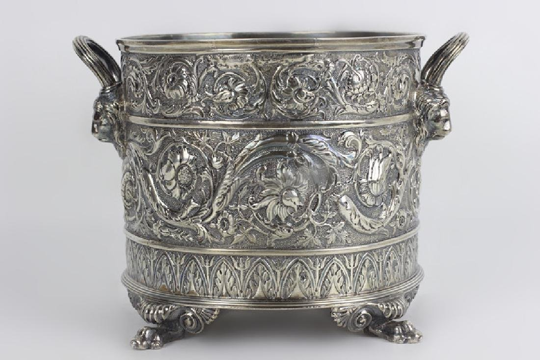 Paul Starr English Silver Footed Cooler Hallmarked