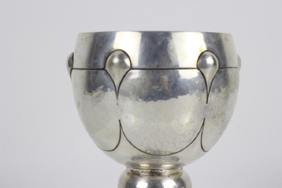 19thc Judaica Hand Hammered 800 Silver Kiddush Cup - 3