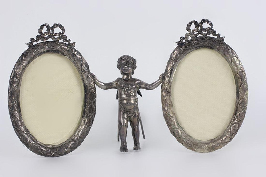 19thc Sterling Silver Cupid 2 Picture Frame
