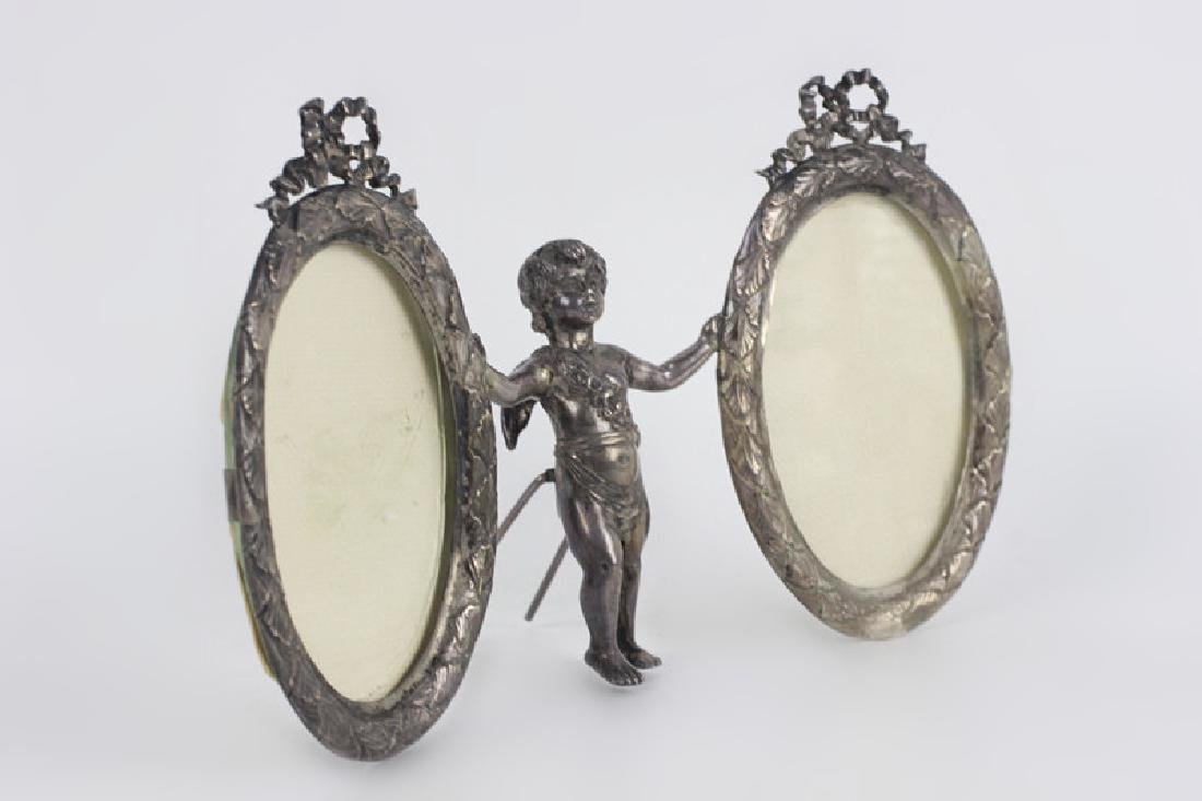 19thc Sterling Silver Cupid 2 Picture Frame - 5
