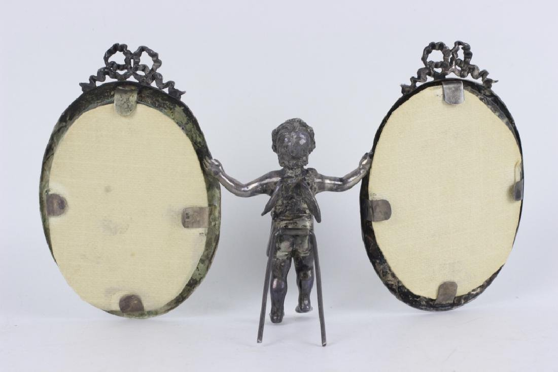 19thc Sterling Silver Cupid 2 Picture Frame - 6