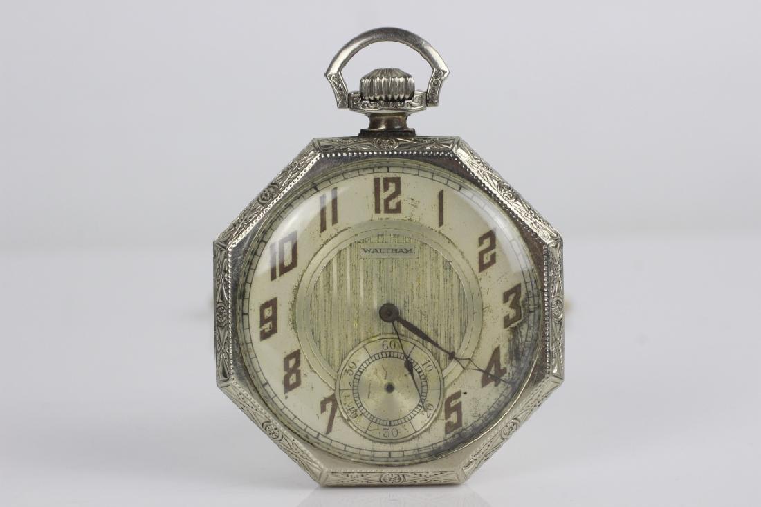 14k White Gold Waltham Songbird Pocket Watch