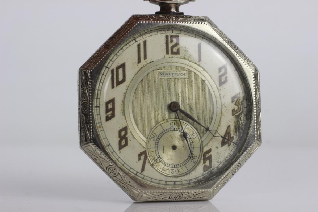 14k White Gold Waltham Songbird Pocket Watch - 2