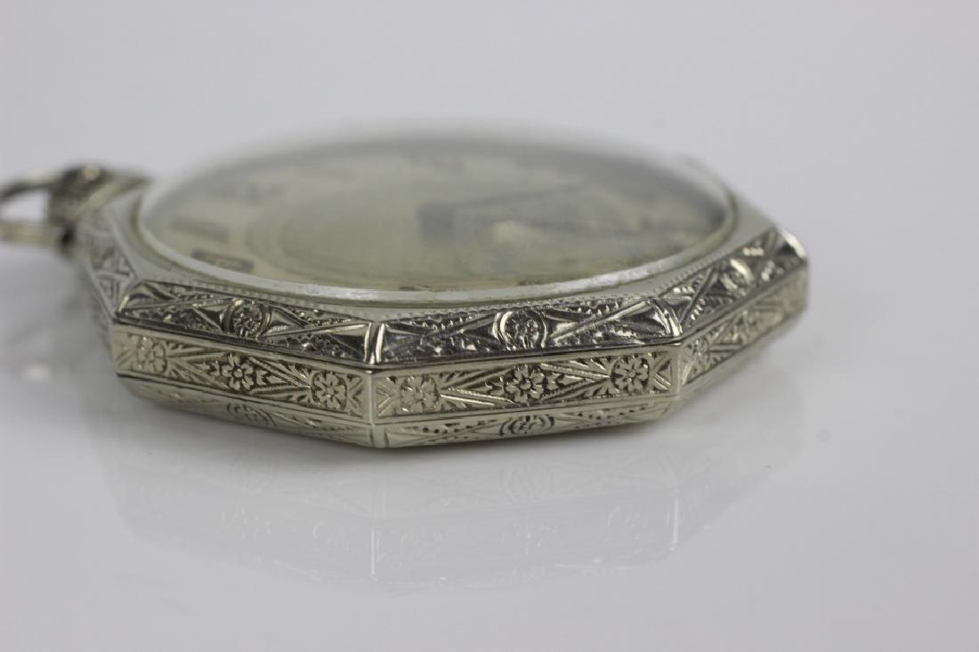 14k White Gold Waltham Songbird Pocket Watch - 3