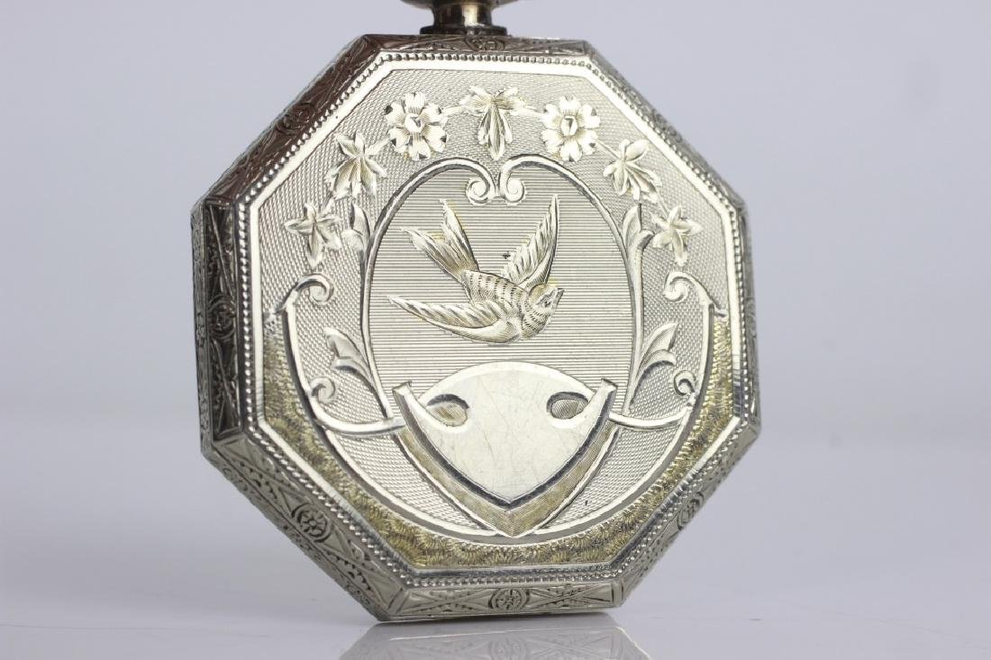 14k White Gold Waltham Songbird Pocket Watch - 4