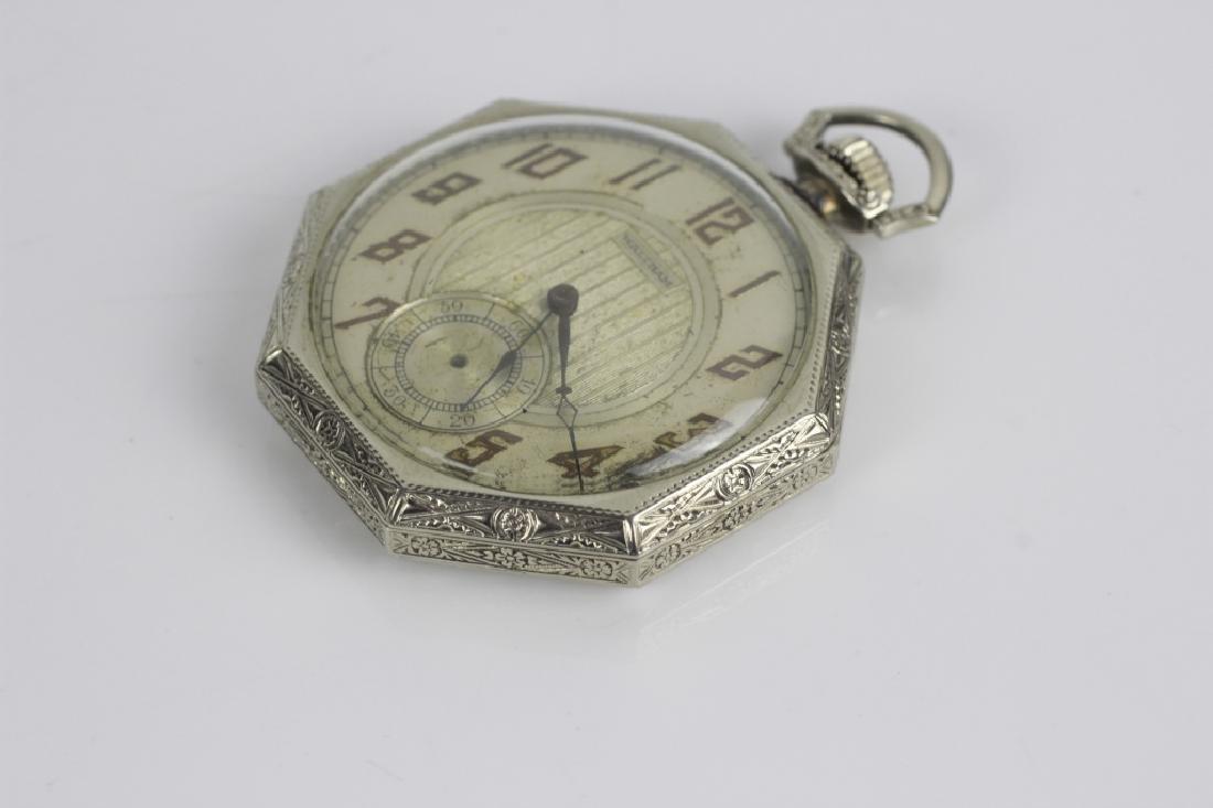 14k White Gold Waltham Songbird Pocket Watch - 6