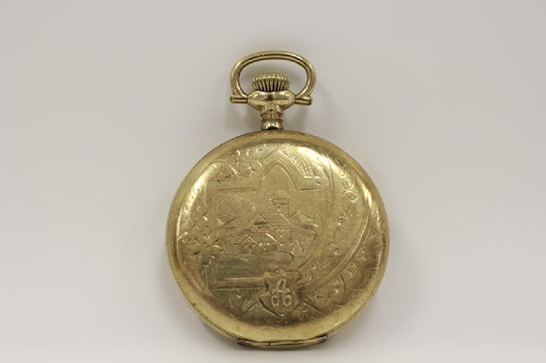 Hamden Pocket Watch, Engraved, 17 Jewel