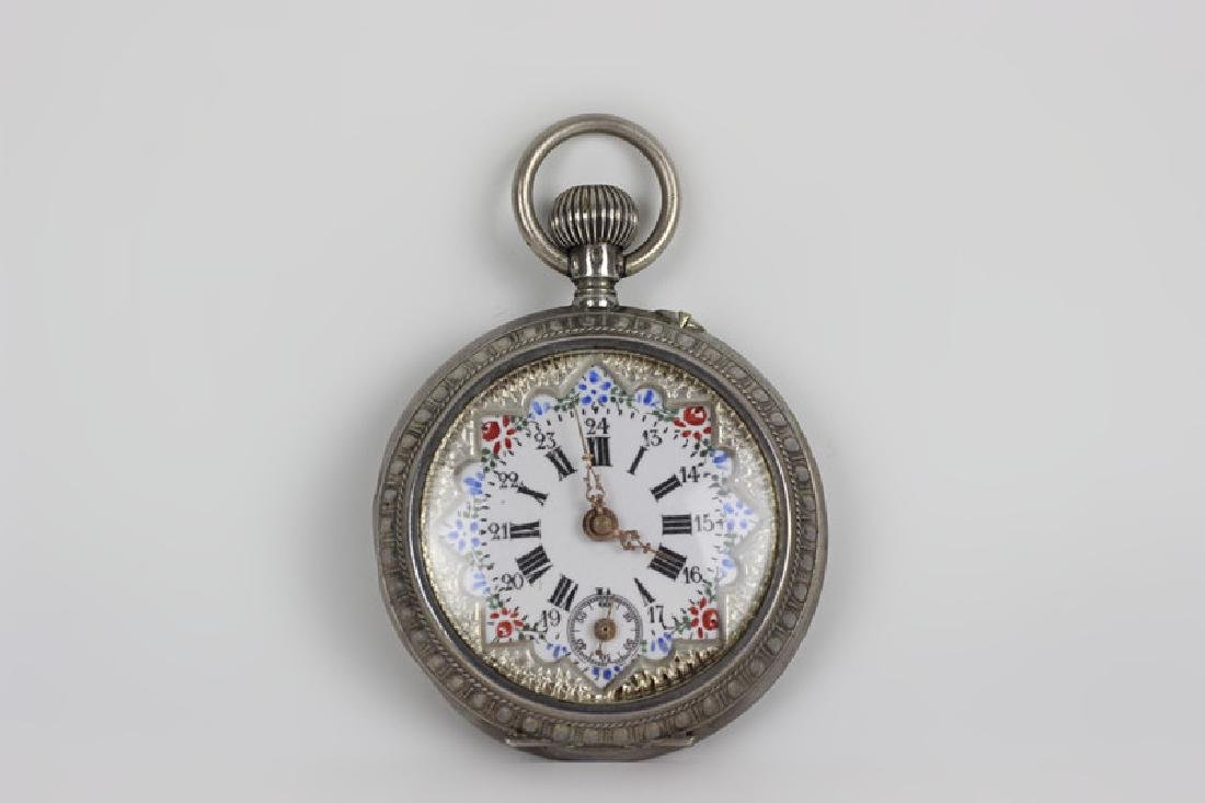 Enameled 800 Silver Pocket Watch, Probably French