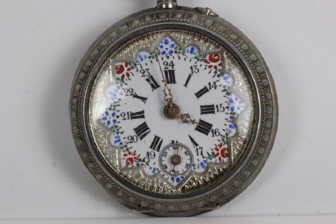 Enameled 800 Silver Pocket Watch, Probably French - 2