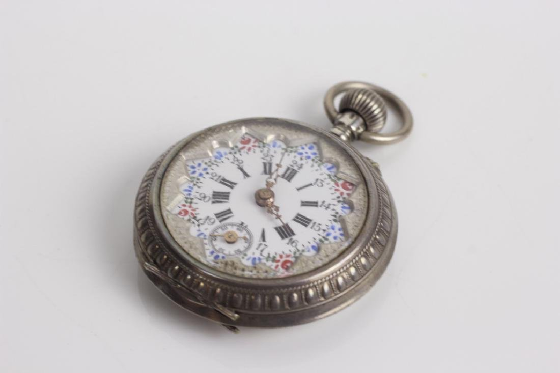 Enameled 800 Silver Pocket Watch, Probably French - 4