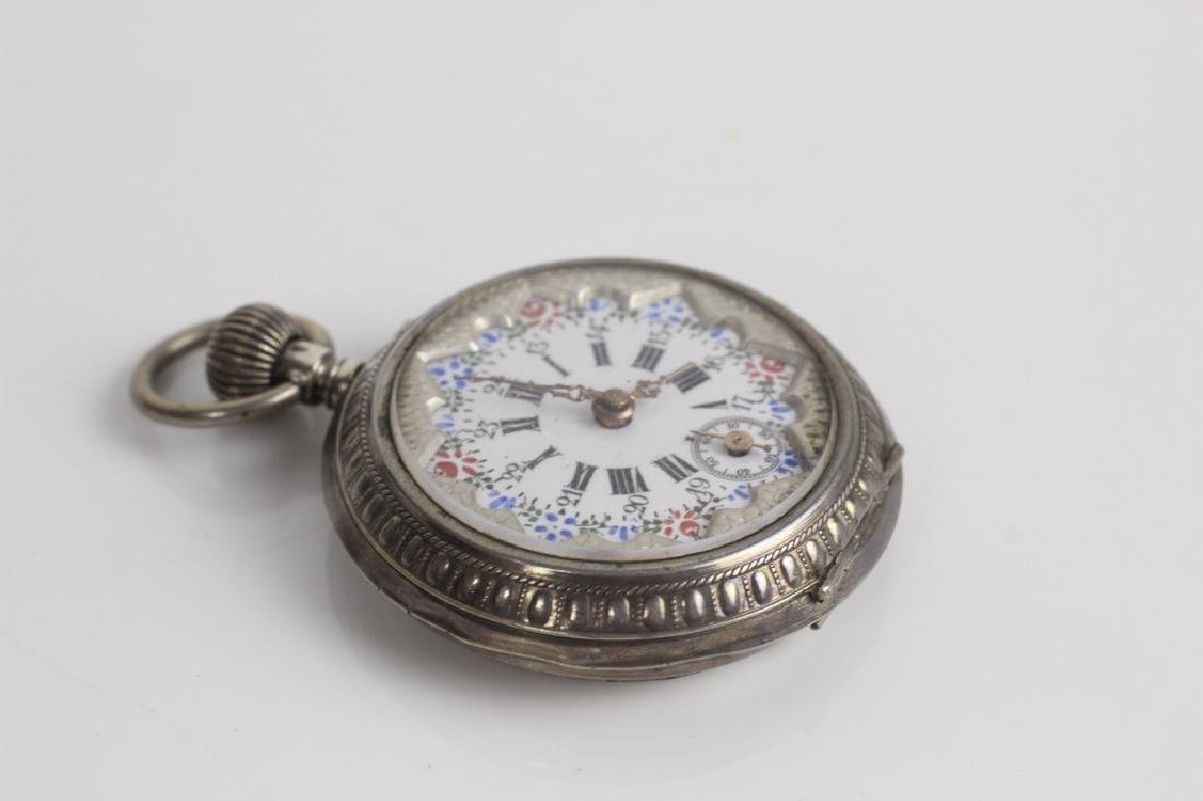 Enameled 800 Silver Pocket Watch, Probably French - 5