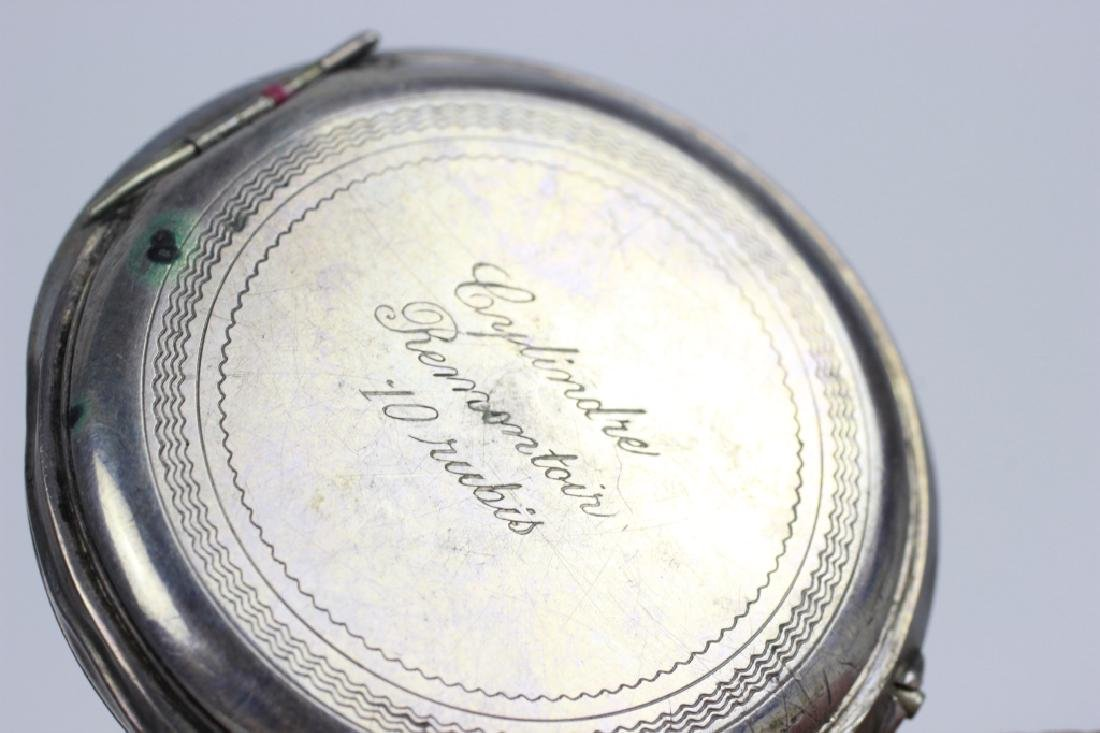 Enameled 800 Silver Pocket Watch, Probably French - 6