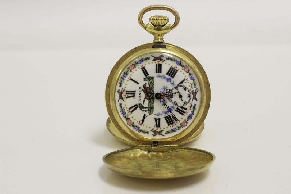 Enameled Pocket Watch by Arnex, 17 Jewel Incabloc