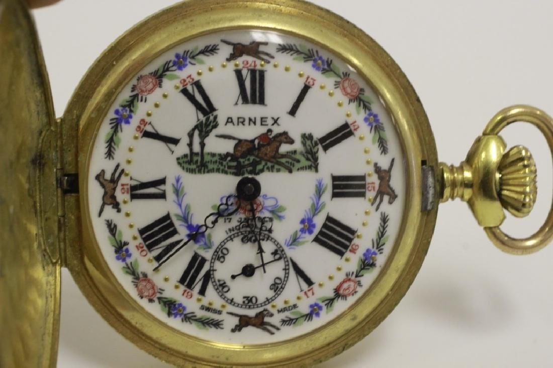 Enameled Pocket Watch by Arnex, 17 Jewel Incabloc - 2