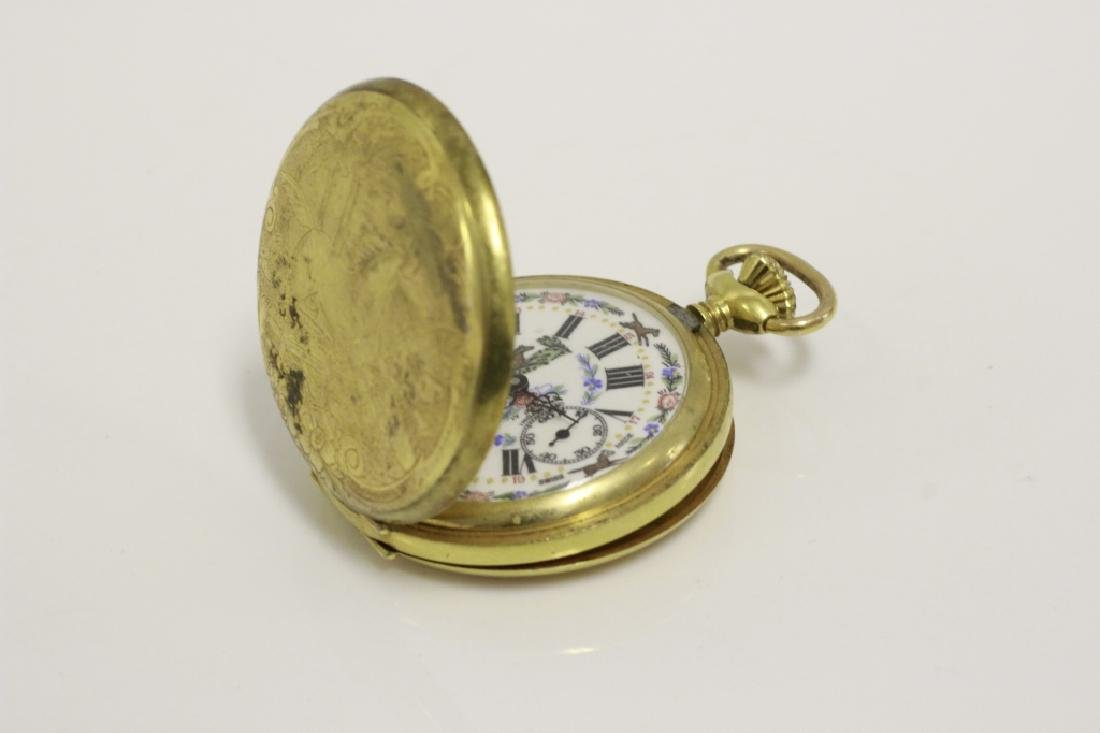Enameled Pocket Watch by Arnex, 17 Jewel Incabloc - 4