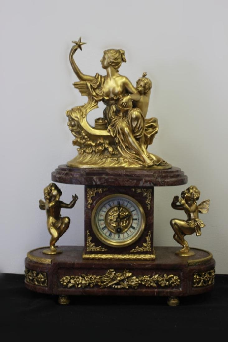 Rouge Marble & Gilded Metal French Clock