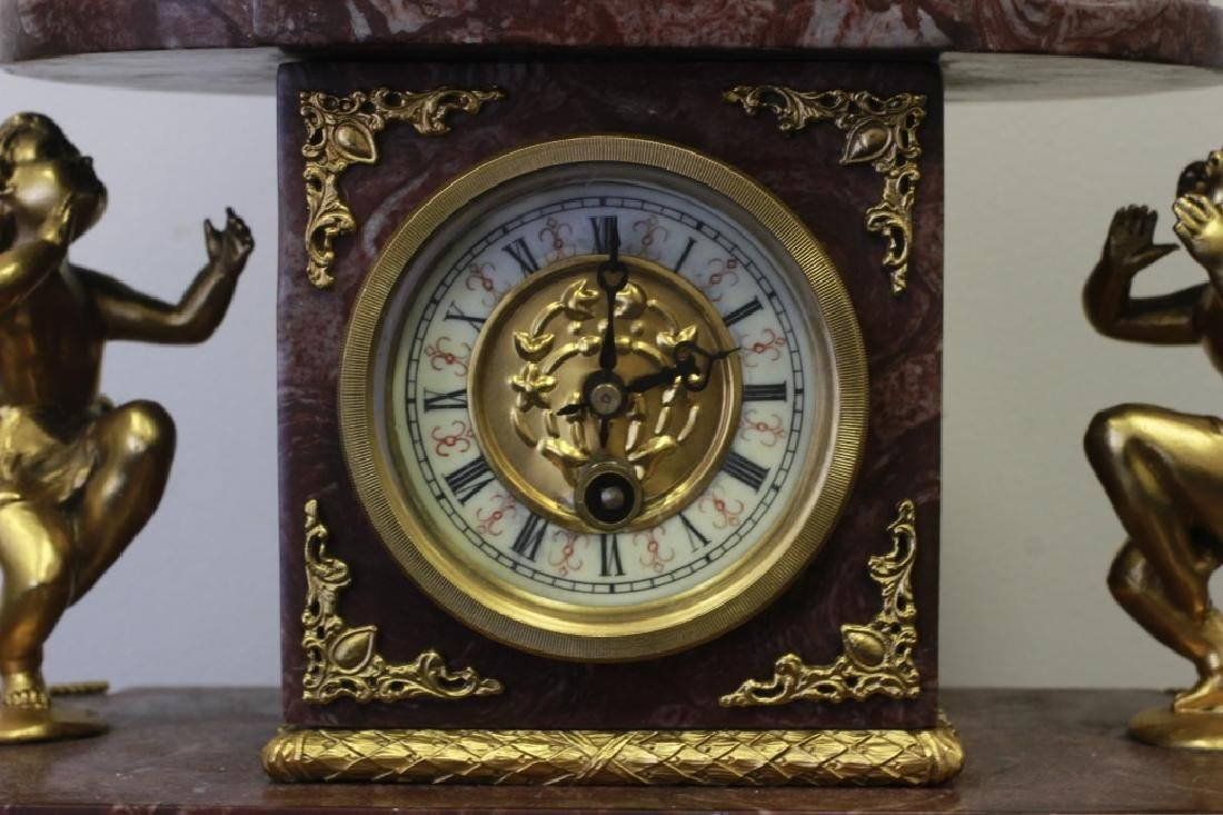 Rouge Marble & Gilded Metal French Clock - 3