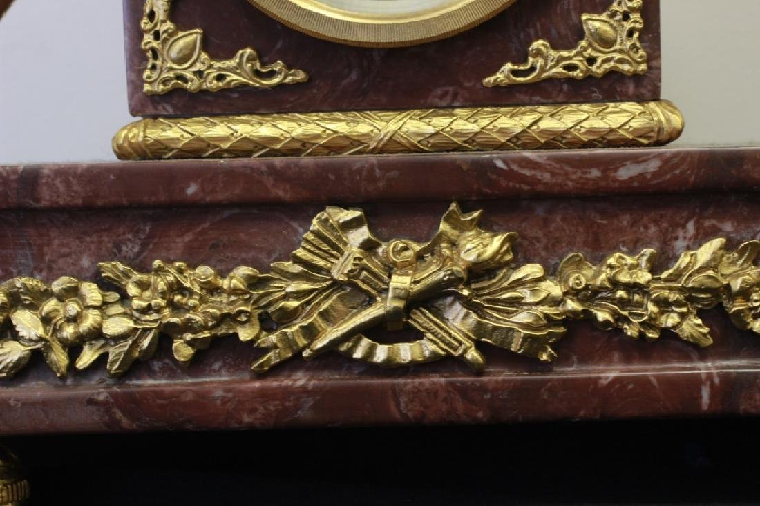 Rouge Marble & Gilded Metal French Clock - 6