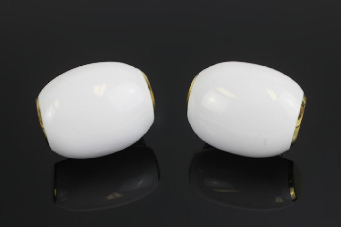 Pair of David Webb18k Gold & White Enamel Earrings