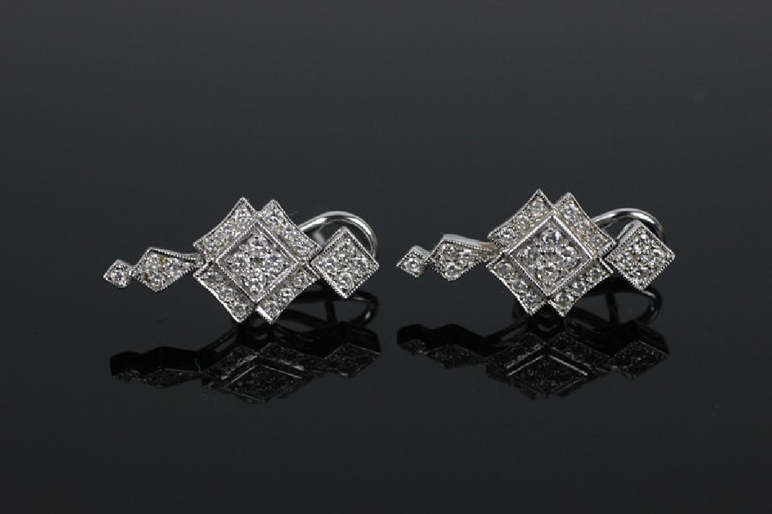 Pair of 18k White Gold & Diamond Earrings