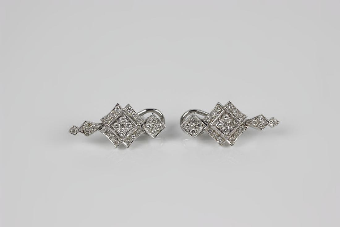 Pair of 18k White Gold & Diamond Earrings - 2