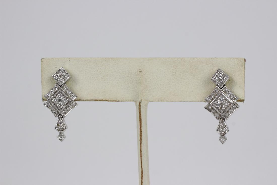 Pair of 18k White Gold & Diamond Earrings - 4