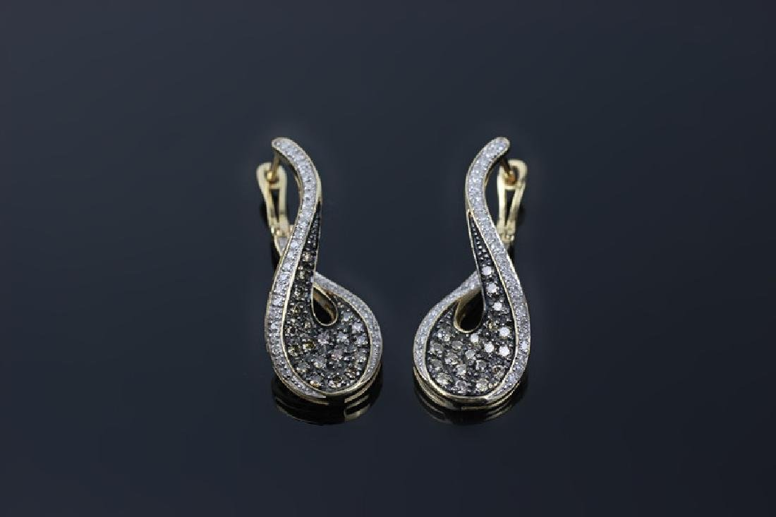 Pair of 14k Gold & Diamond Earrings - 2