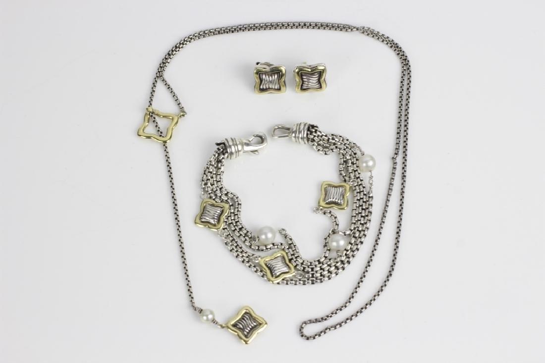 3pc Set of David Yurman 18k Gold & Sterling