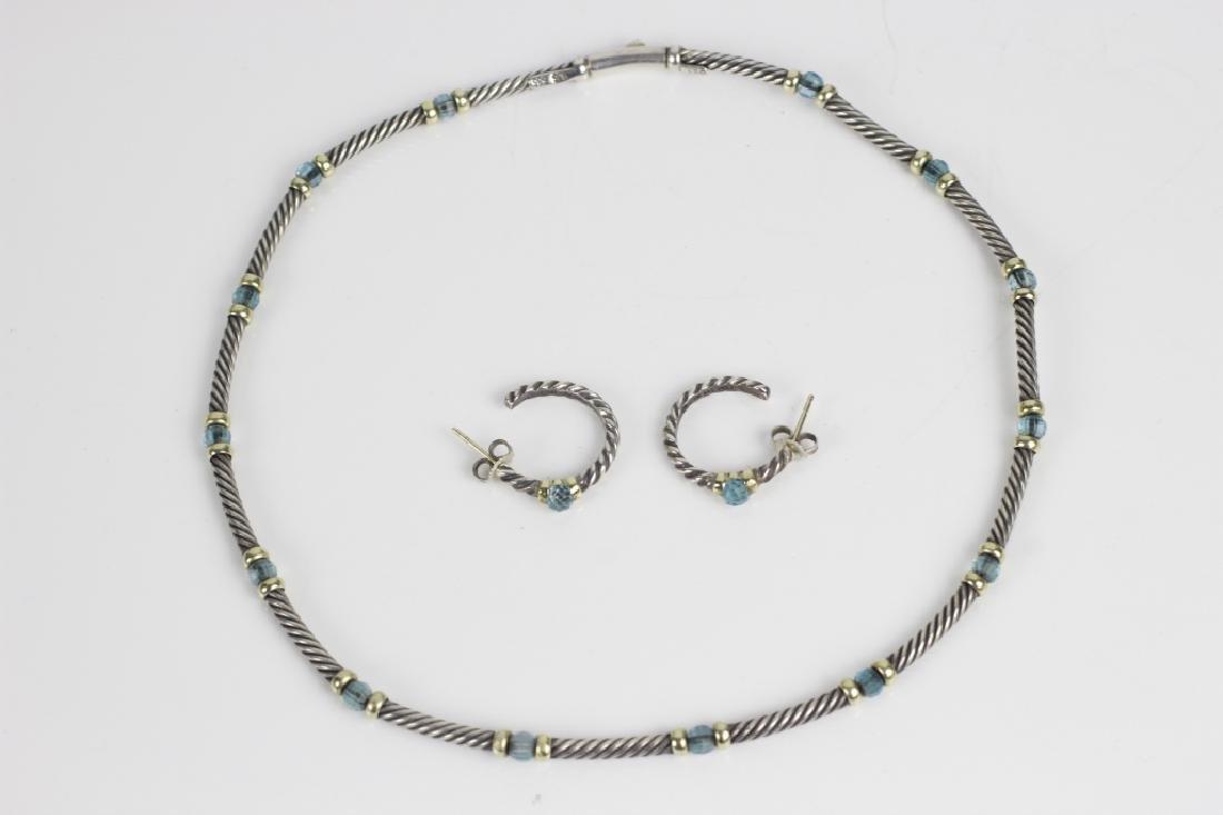 David Yurman 14k Gold & Sterling Necklace,Earrings