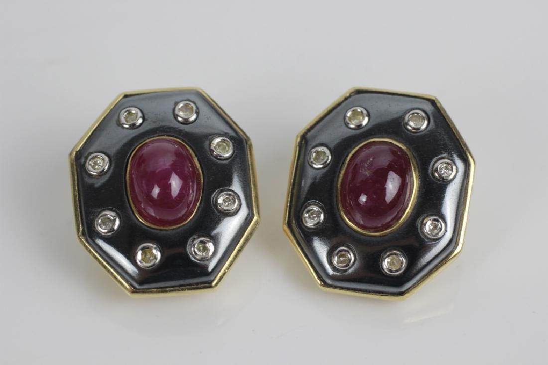 Pair of 14k Gold,Diamond & Ruby Earrings