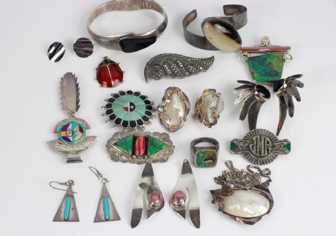 16pc Group Lot of Sterling Silver & Enamel Jewelry