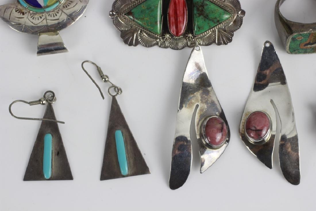 16pc Group Lot of Sterling Silver & Enamel Jewelry - 2